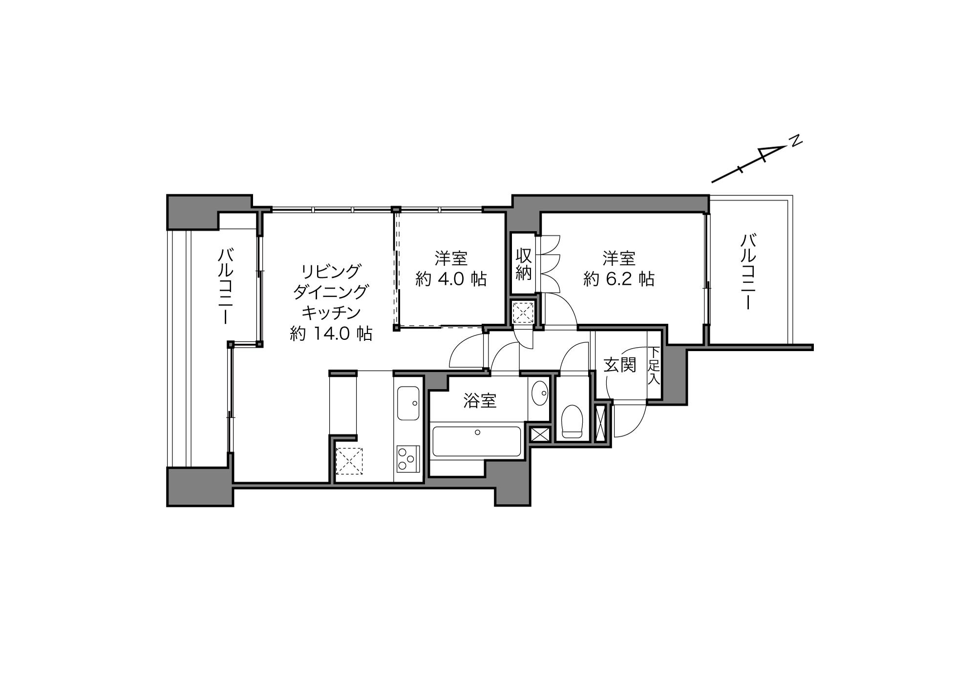 乃木坂駅 / 2LDK / 57.07㎡