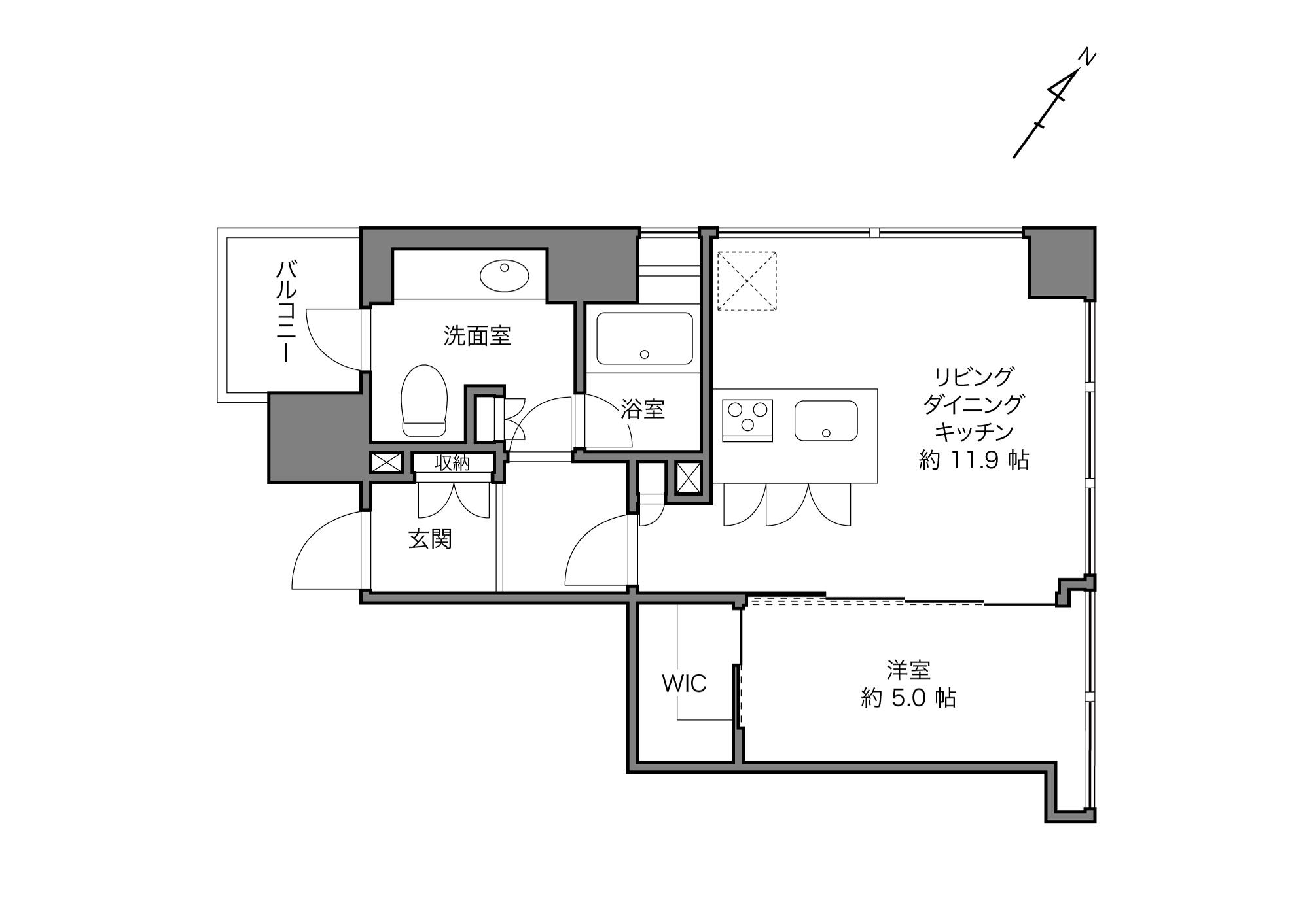 六本木駅 / 1LDK+WIC / 47.88㎡