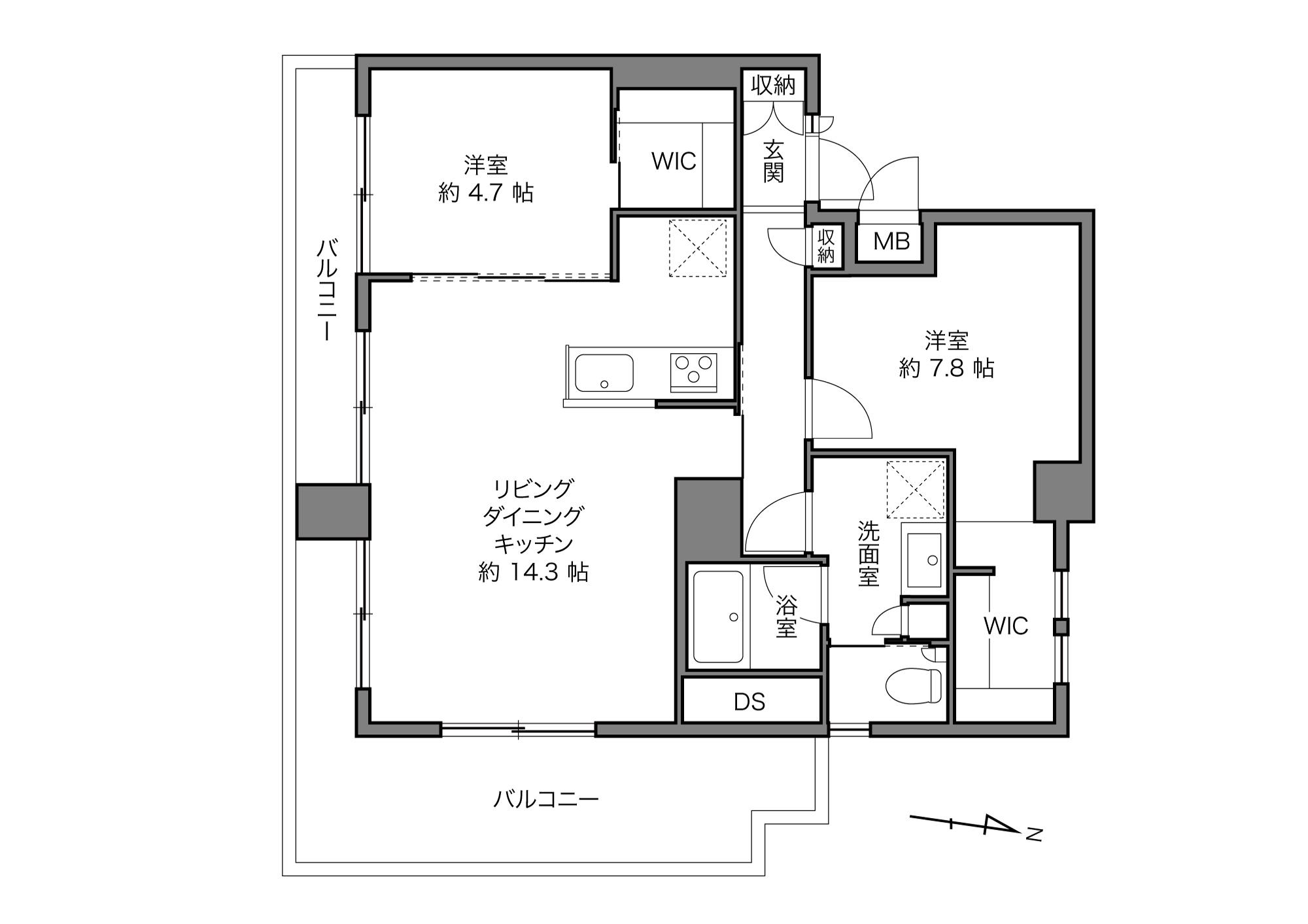 三軒茶屋駅 / 2LDK+2WIC / 60.72㎡