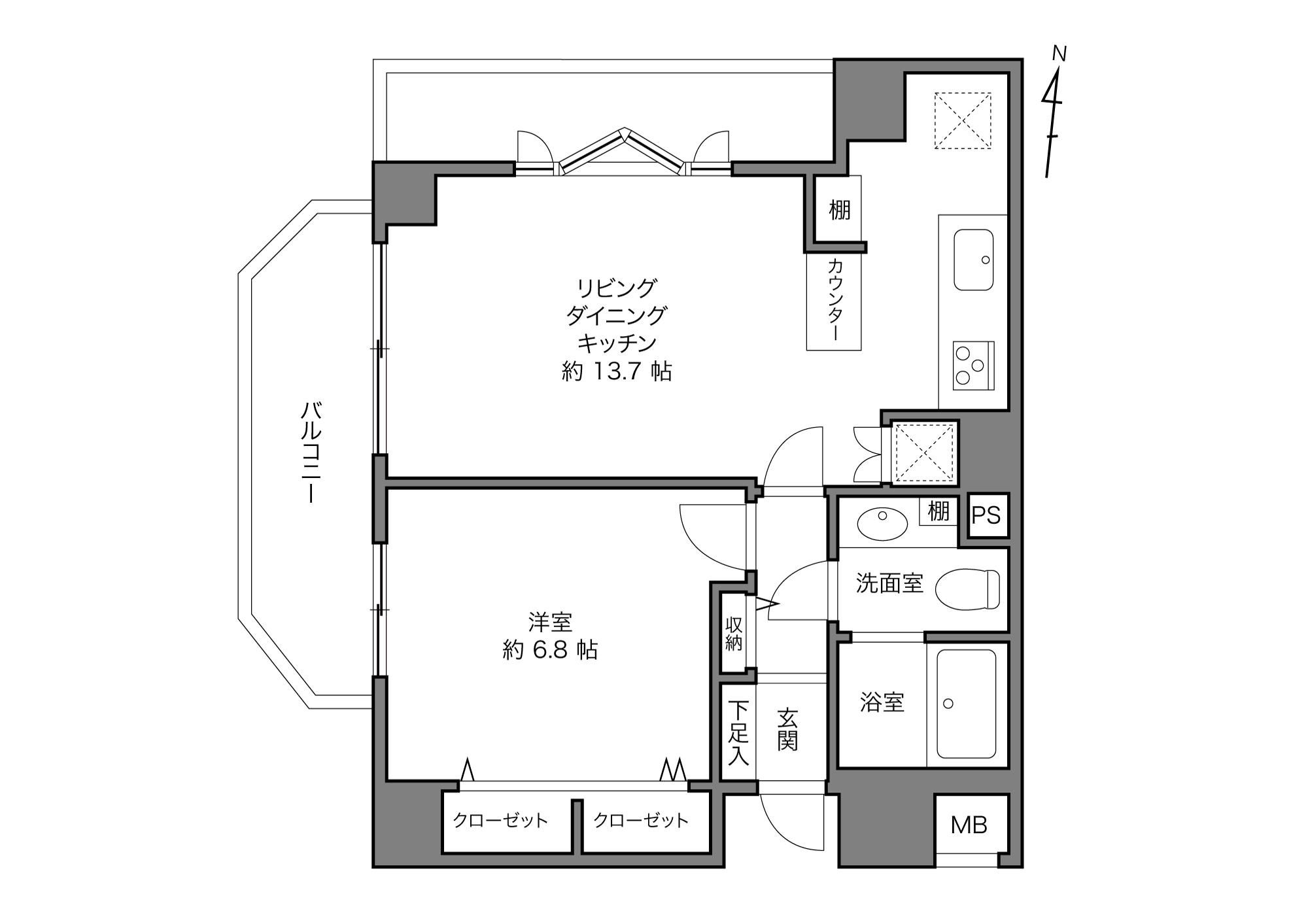 大崎駅 / 1LDK+STO / 46.81㎡