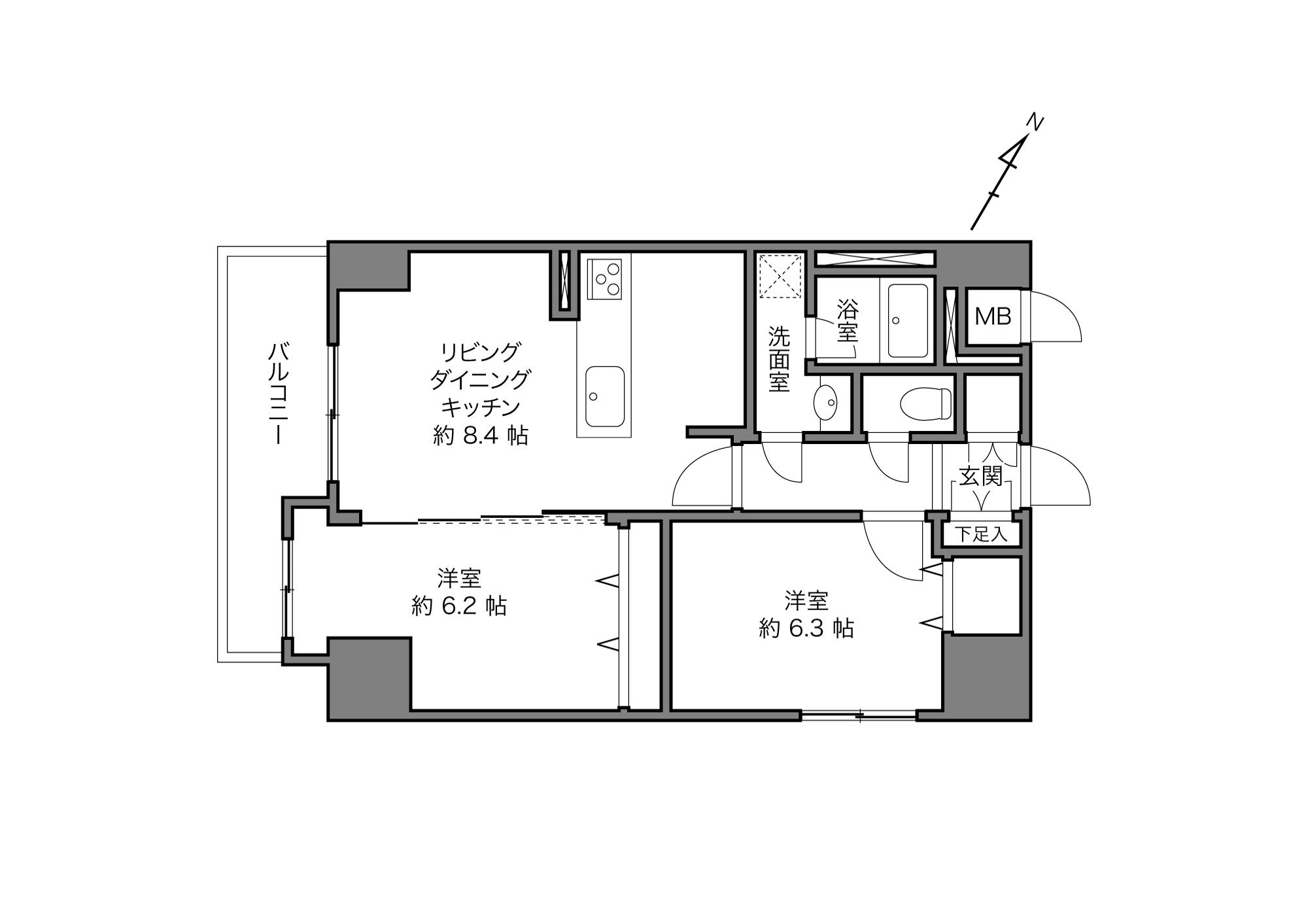 池尻大橋駅 / 2LDK / 57.12㎡