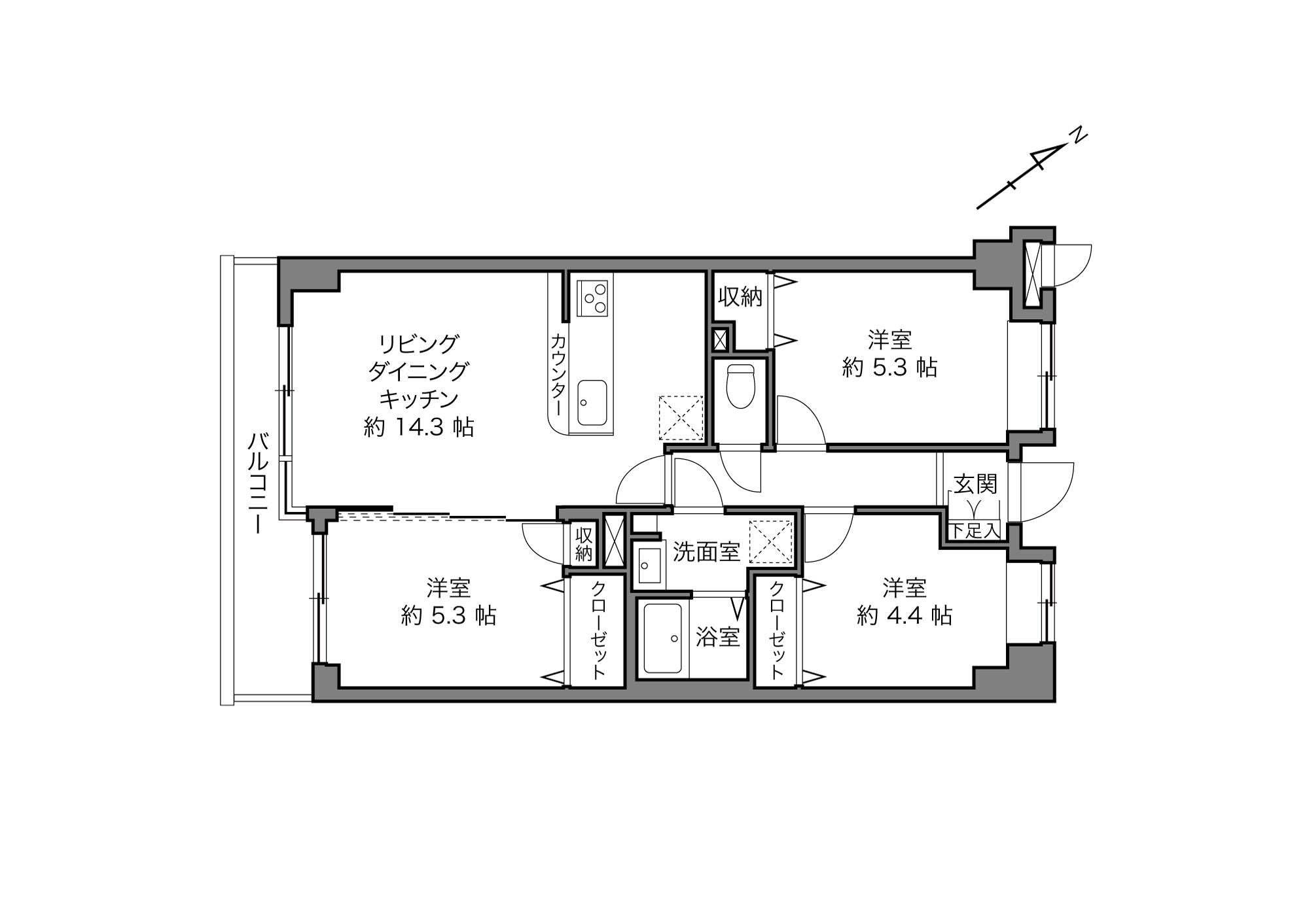 若林駅 / 3LDK+4Closet / 66.06㎡