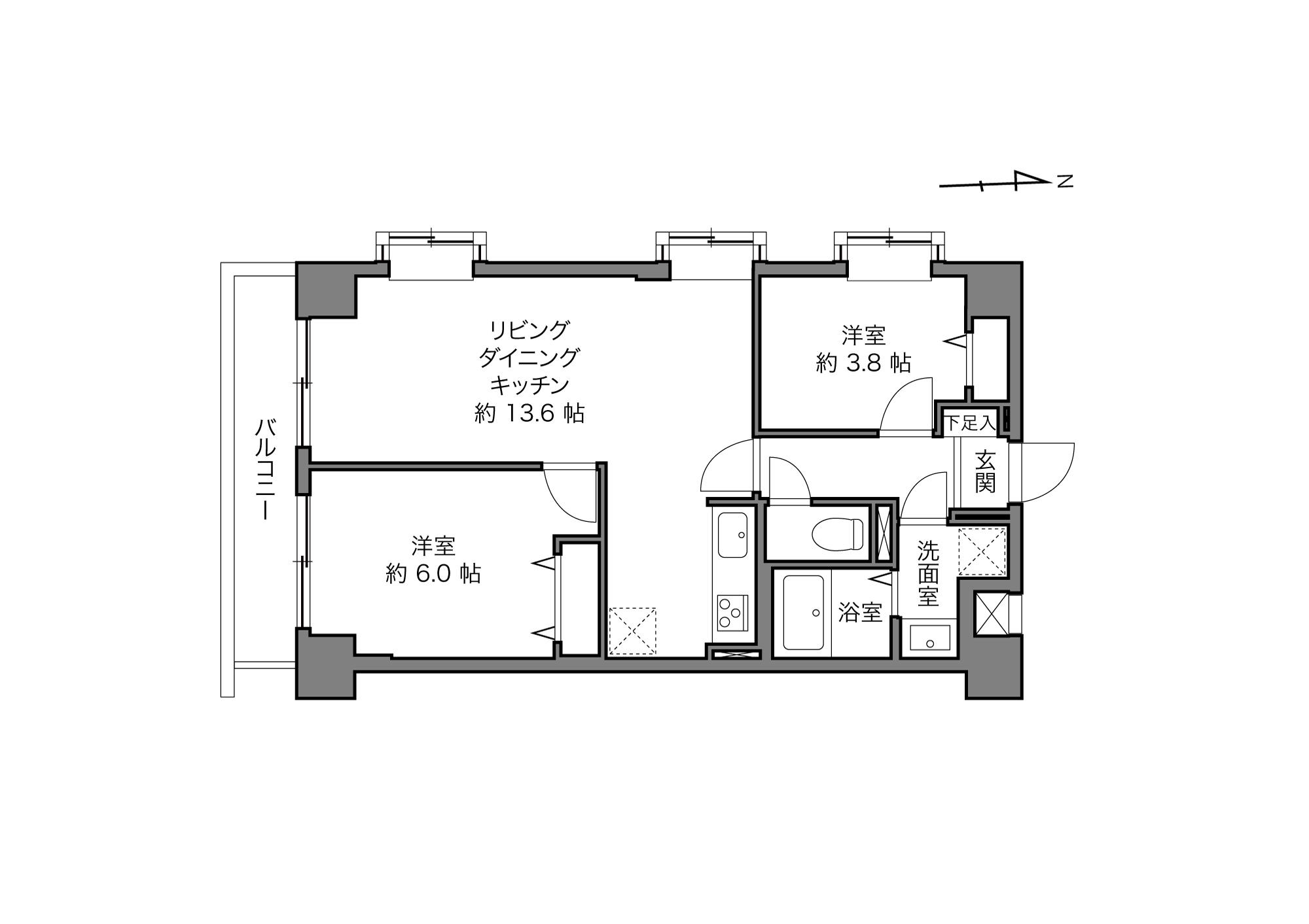あざみ野駅 / 2LDK / 52.38㎡