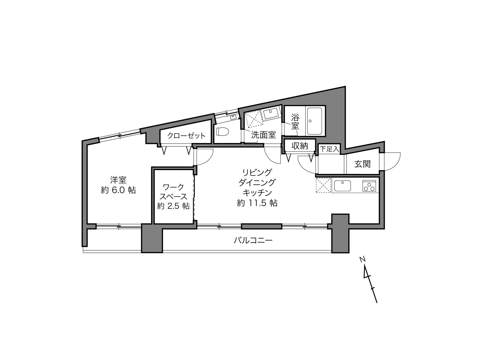 面影橋駅 / 1LDK+Work Space / 55.51㎡