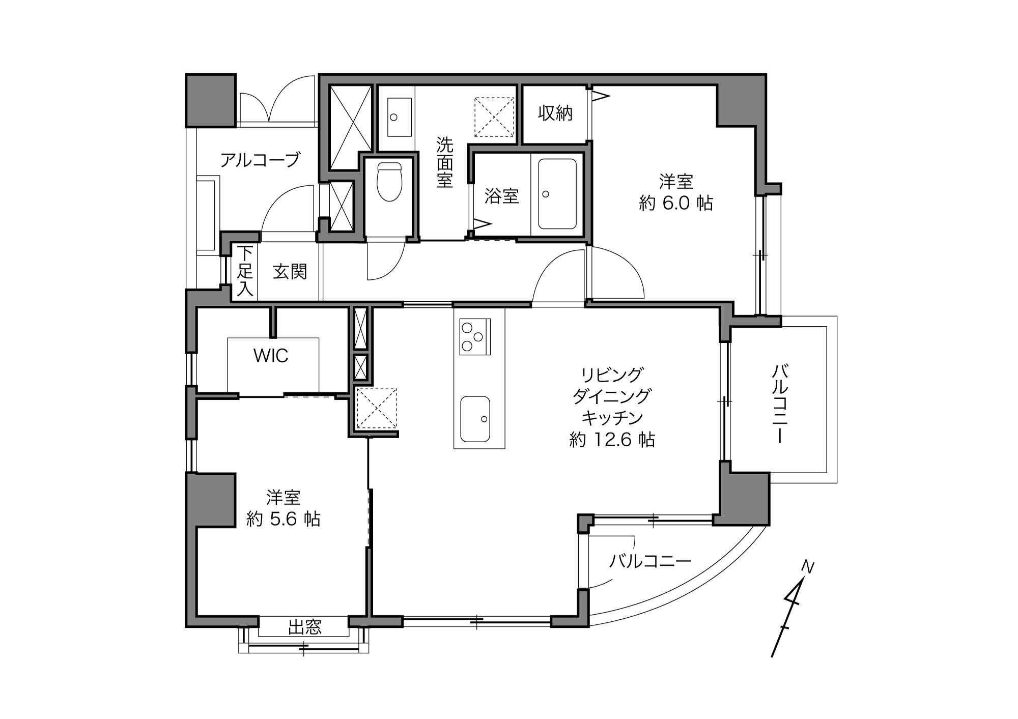 春日駅 / 2LDK+WIC / 57.70㎡