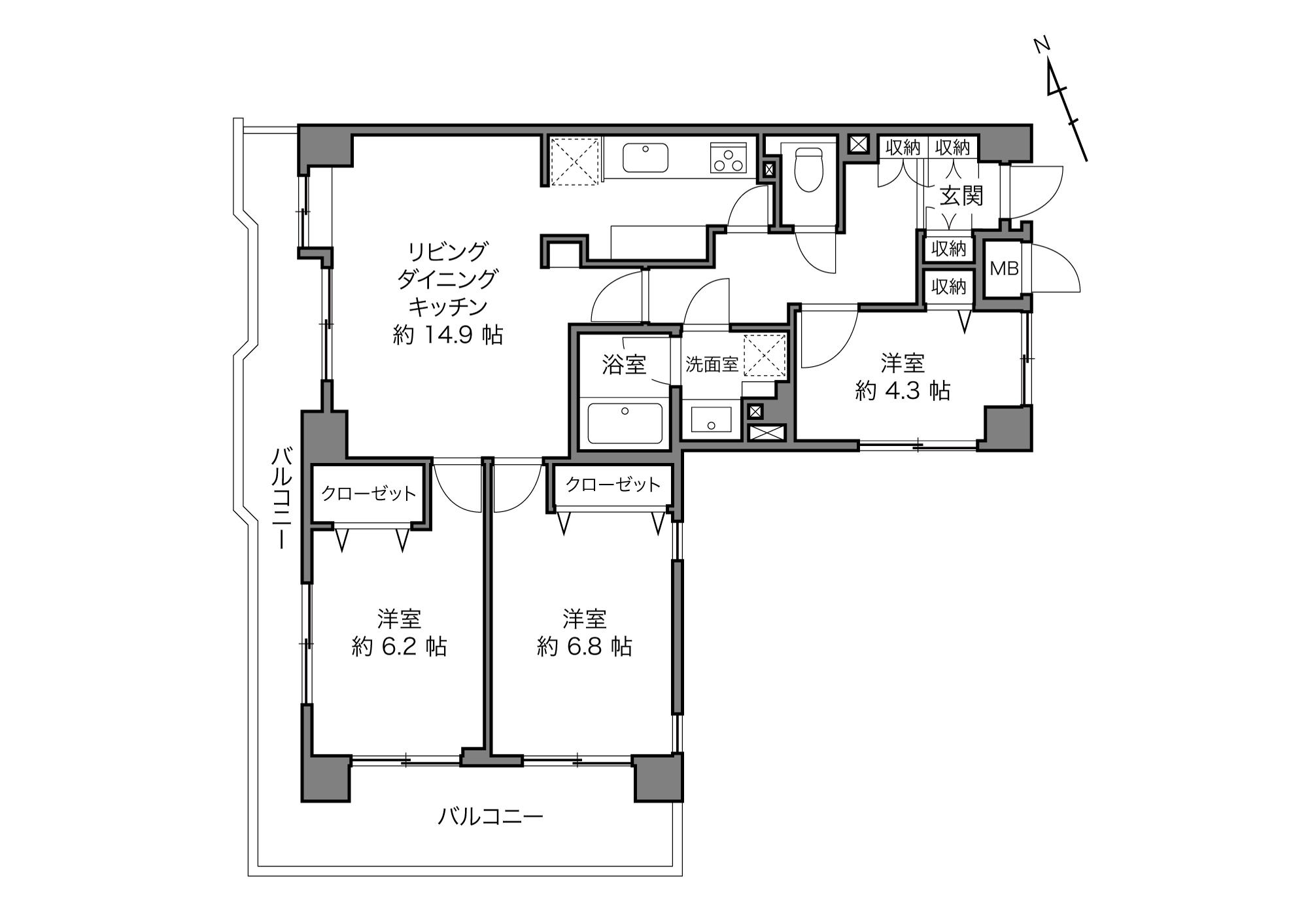 東武練馬駅 / 3LDK+5Closet / 73.87㎡