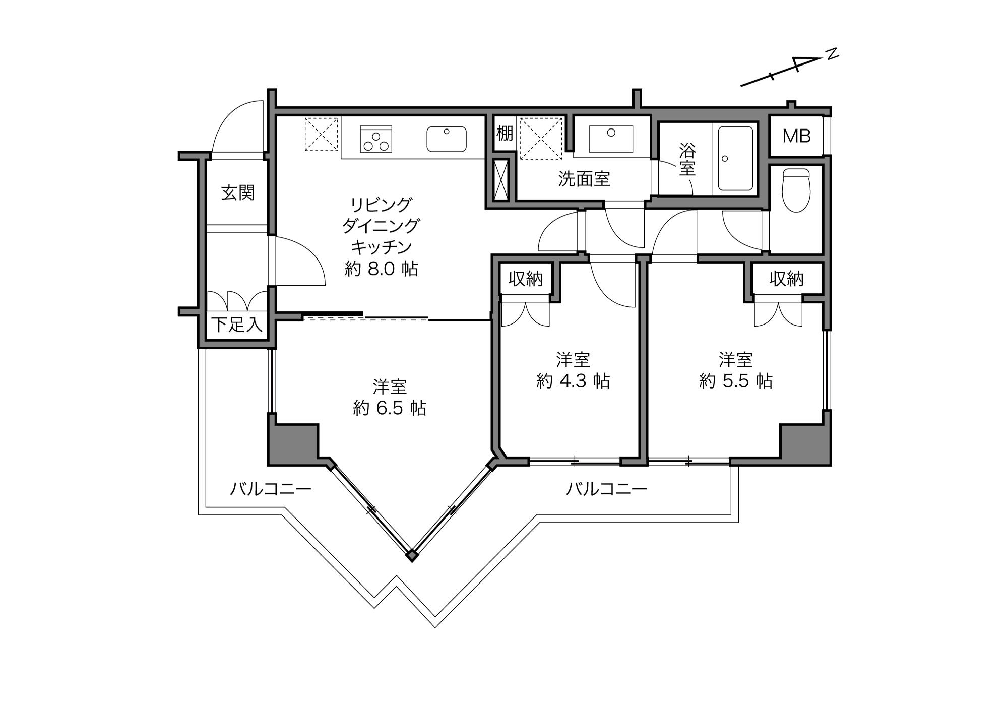 大井町駅 / 3LDK / 56.55㎡