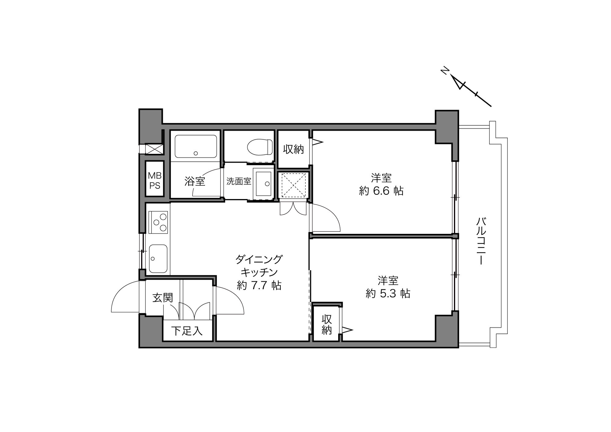 小竹向原駅 / 2DK / 42.51㎡