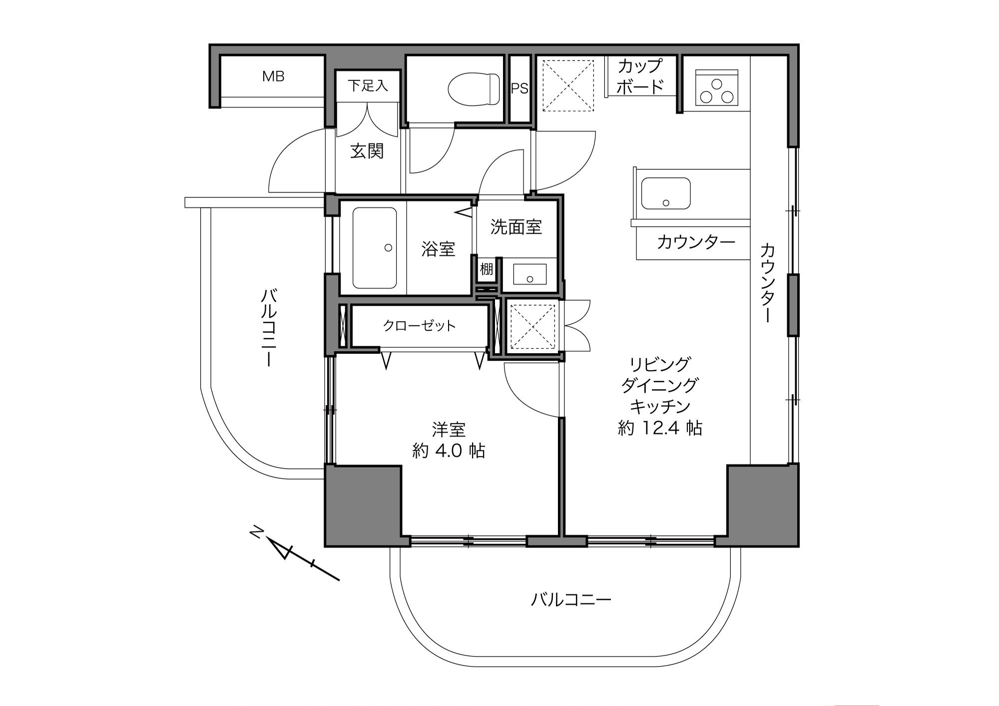 白金高輪駅 / 1LDK / 38.40㎡