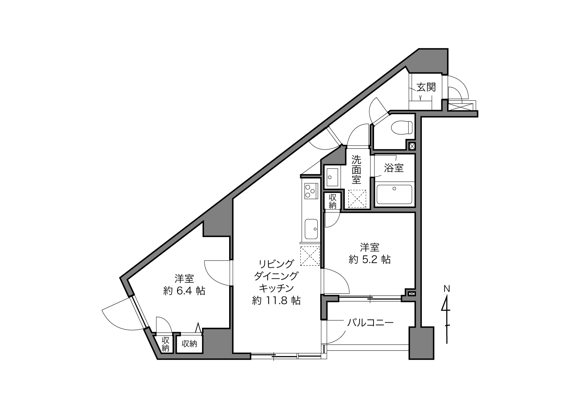 日暮里駅 / 2LDK+3Closet / 53.51㎡