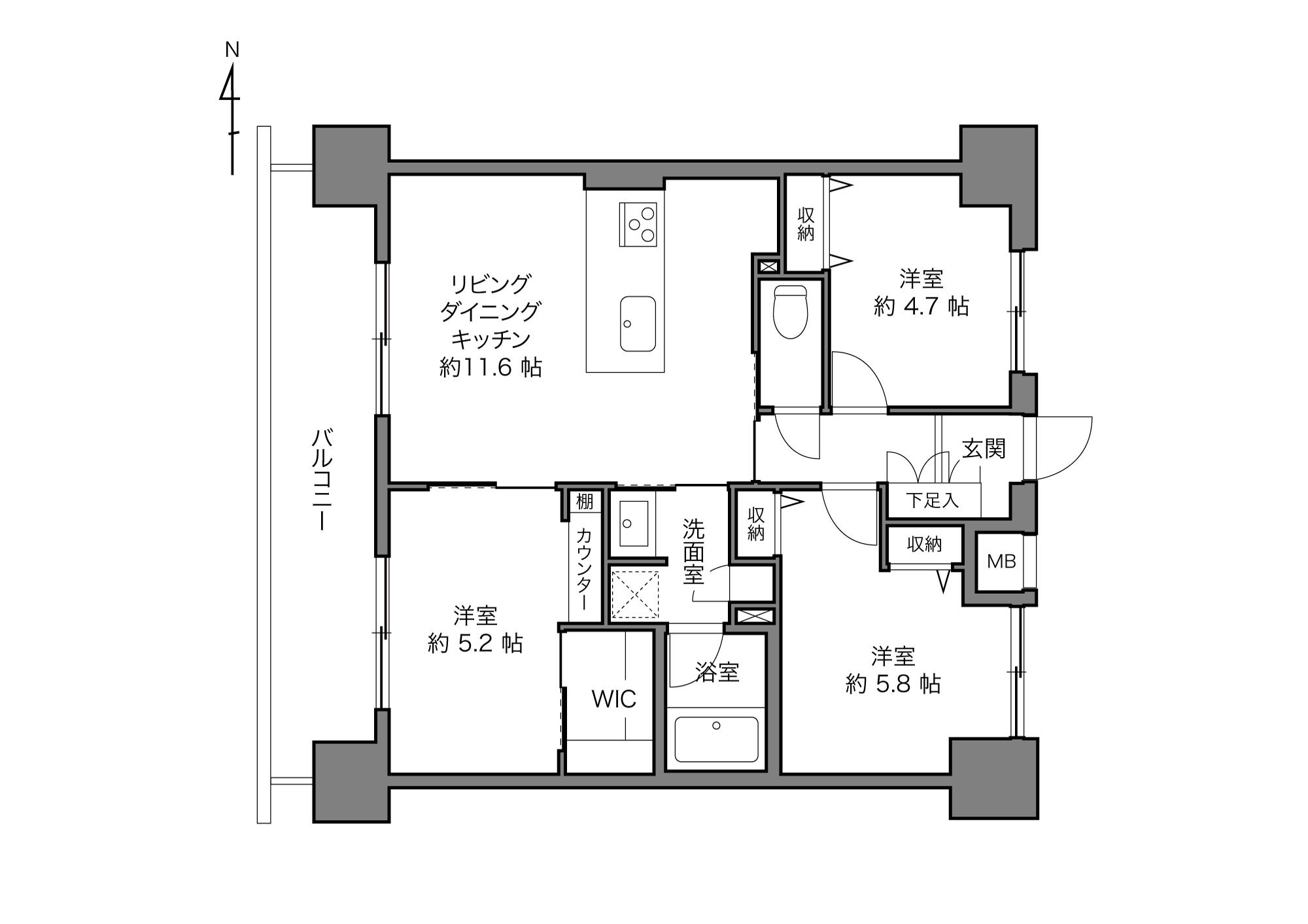 豊洲駅 / 3LDK+WIC / 60.22㎡