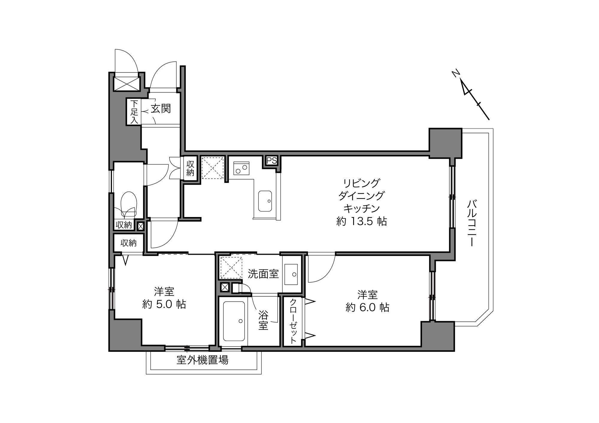 田端駅 / 2LDK+3Closet / 55.31㎡