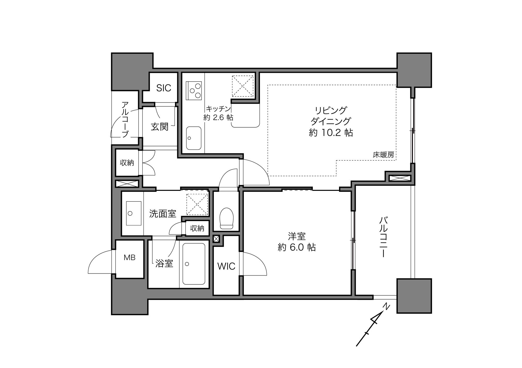 桜木町駅 / 1LDK+WIC+SIC / 48.51㎡