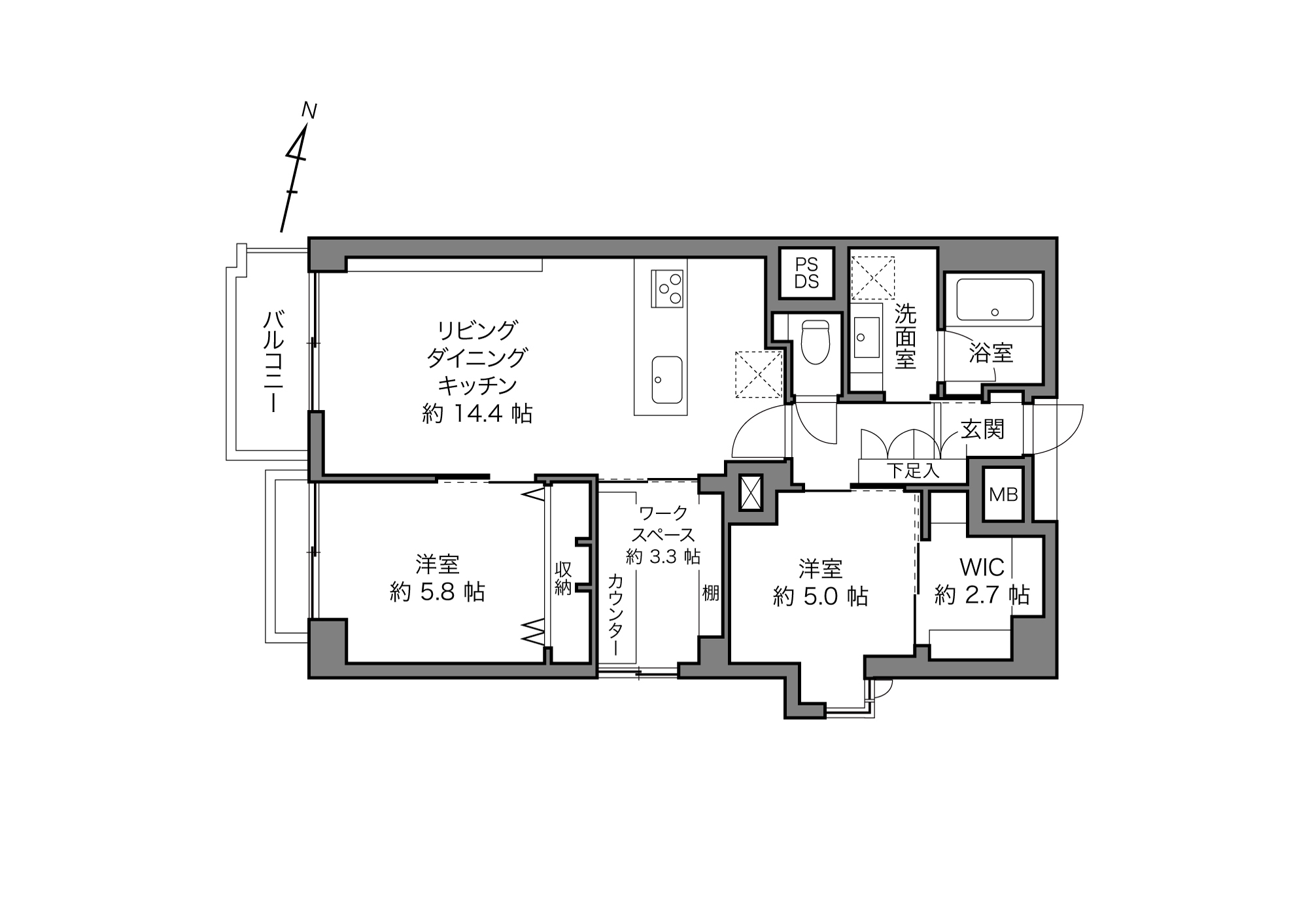 東大前駅 / 2LDK+WS / 69.29㎡