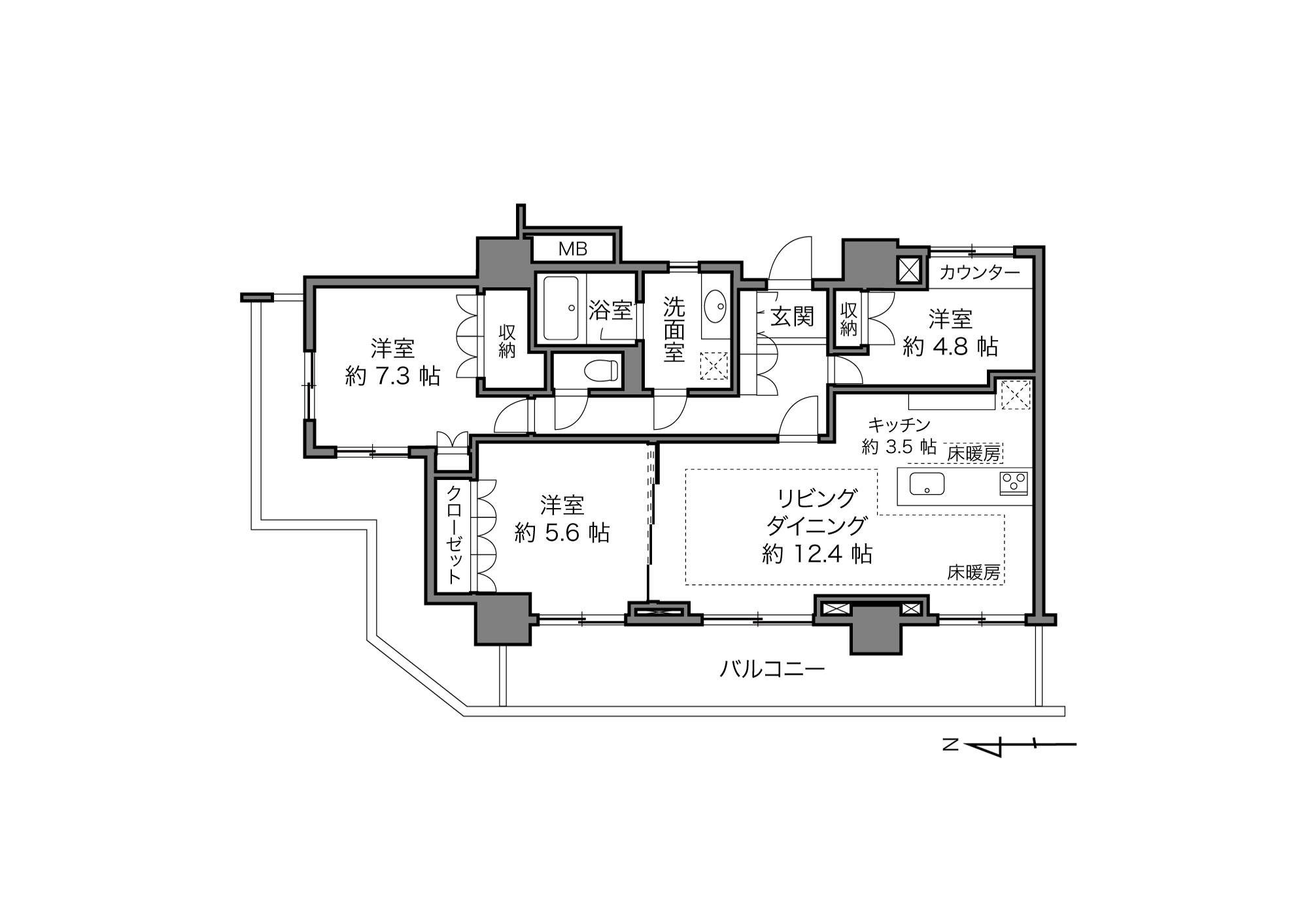 門前仲町駅 / 3LDK / 82.73㎡