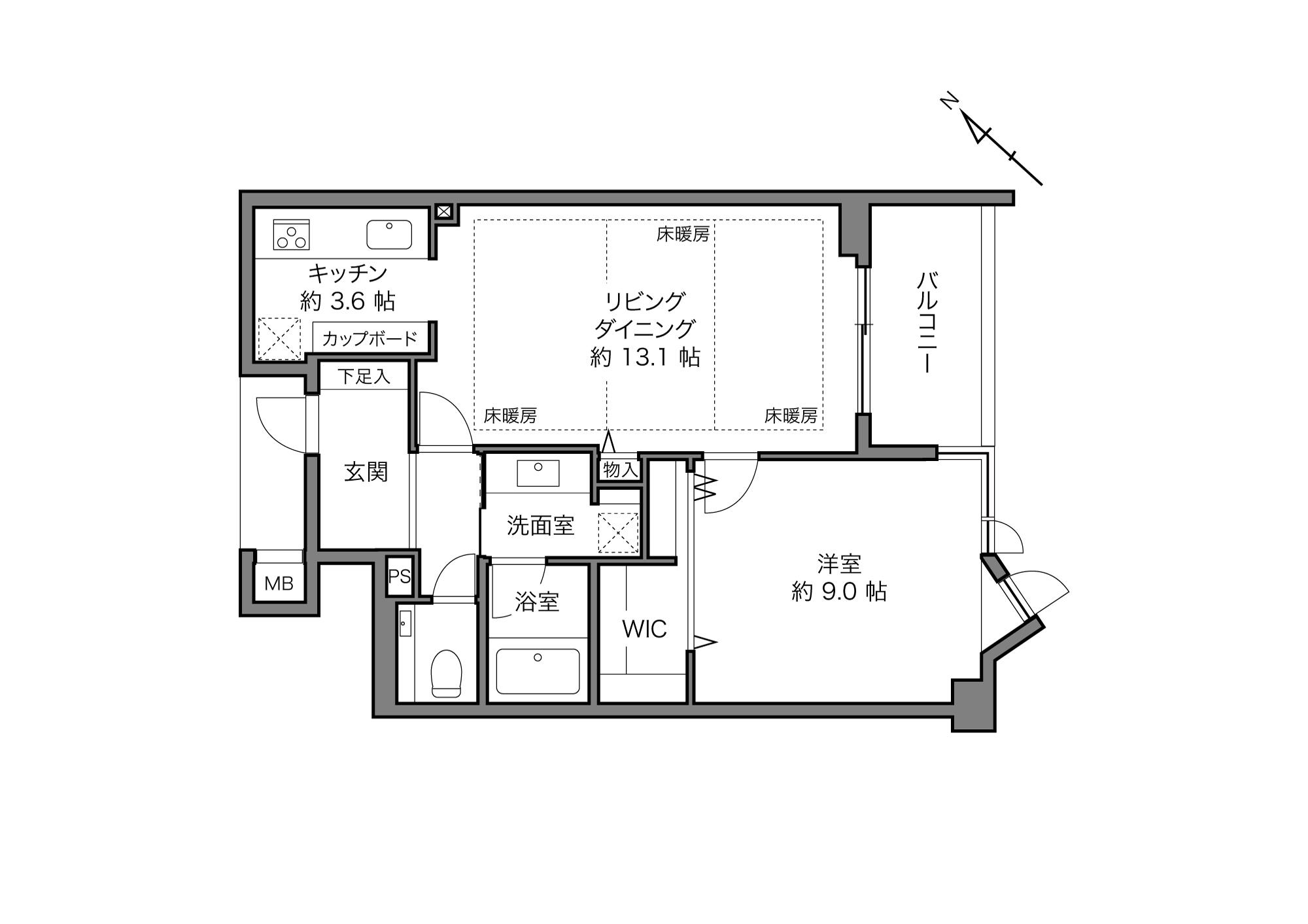 代官山駅 / 1LDK+WIC / 60.71㎡